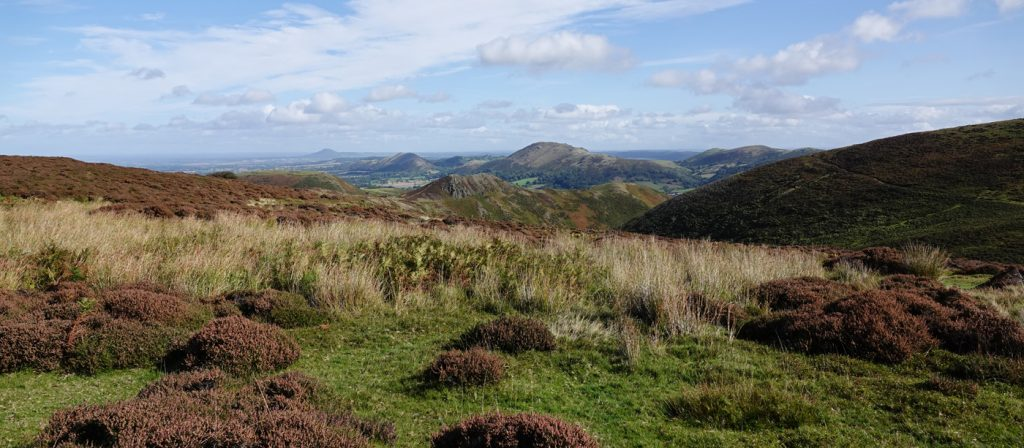 Caer Caradoc et al from above Townfield Valley